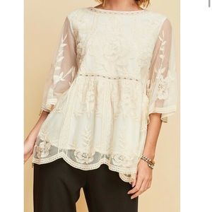 Entro Floral Lace Tunic, size Small